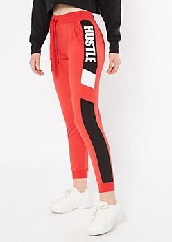 Red Side Striped Hustle Joggers