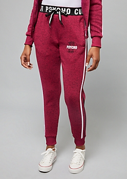 Pink Cute But Psycho Side Striped Sweater Knit Joggers