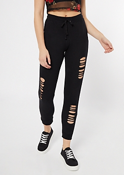 Black Distressed Cinched Joggers