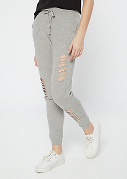 Gray Distressed Drawstring Joggers