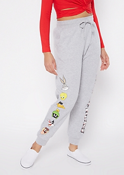 Heather Gray Looney Tunes Boyfriend Joggers