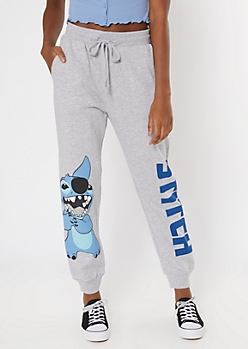 Gray Stitch Graphic Boyfriend Joggers
