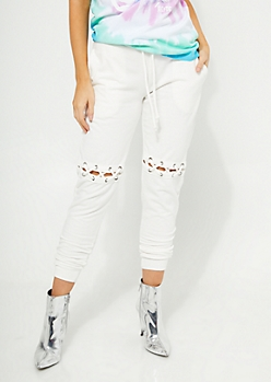 Ivory Lace Up Knee Cutout Joggers