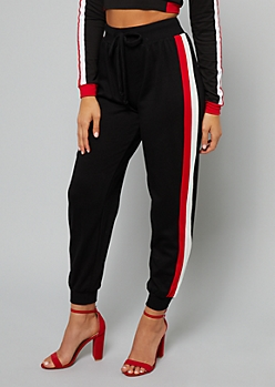 Black Double Side Striped Joggers