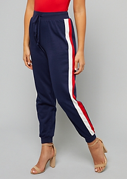 Navy Double Side Striped Joggers