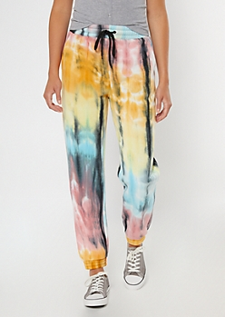 Black Rainbow Tie Dye Boyfriend Joggers