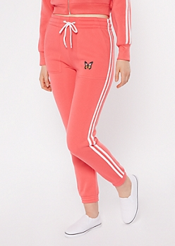Coral Varsity Stripe Butterfly Embroidered Joggers