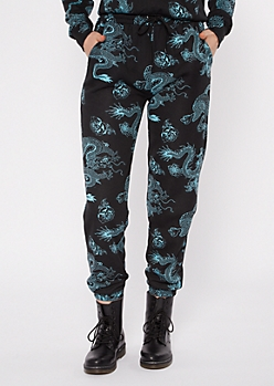 Black Dragon Print Boyfriend Joggers