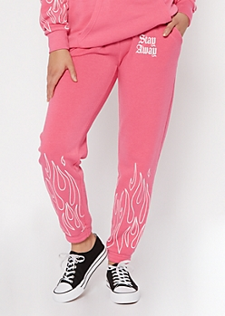 Neon Pink Stay Away Flame Embroidered Boyfriend Joggers