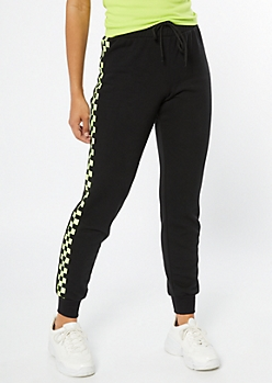 Black Yellow Checkered Print Side Striped Joggers