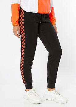 Black Coral Checkered Print Side Striped Joggers