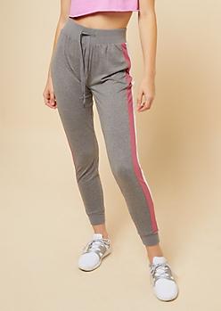 Heather Gray Pink Striped Pattern Super Soft Joggers