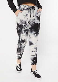 Black Tie Dye High Waisted Boyfriend Joggers