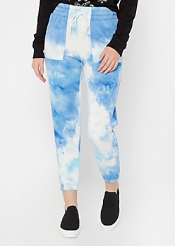 Blue Tie Dye High Waisted Boyfriend Joggers