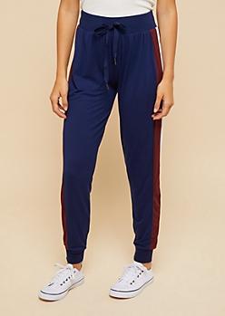Navy Striped Pattern Super Soft Joggers