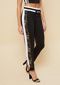 Black Camo Striped Pattern Super Soft Joggers