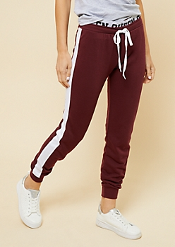 Burgundy Varsity Striped Queen Waistband Joggers