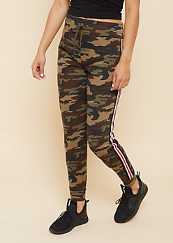 Camo Athletic Tape Striped High Waisted Joggers