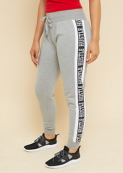 Heather Gray Side Stripe Hustle Joggers