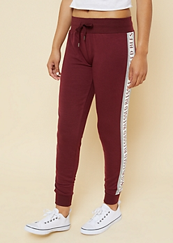 Burgundy Blessed Colorblock Knit Joggers
