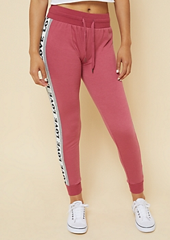 Pink Love Colorblock Knit Joggers