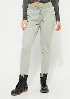 Olive Marled Knit Joggers