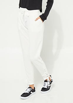 White Lace-Up High Waist Knit Joggers