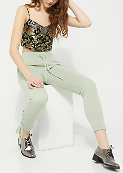 Light Green Lace Up High Waist Knit Joggers
