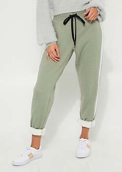 Olive Stripe Sherpa Lined Jogger