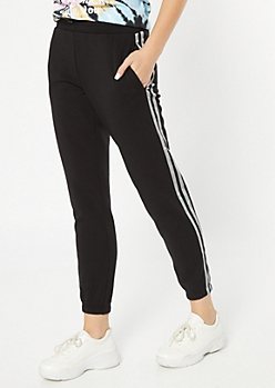 Black Reflective Side Striped Fleece Joggers