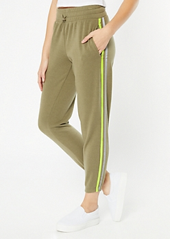 Olive Reflective Side Striped Fleece Joggers