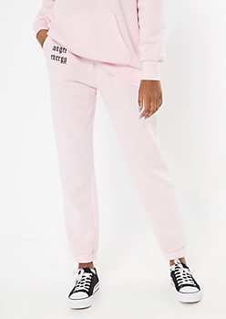Pink Angel Energy Embroidered Boyfriend Joggers
