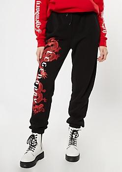 Black Dragon Graphic Boyfriend Joggers