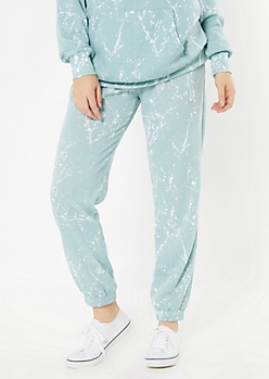 Blue Paint Splatter Cozy Boyfriend Joggers