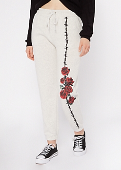 Heather Gray Rose Wire Graphic Sweats