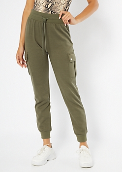 Olive High Waisted Cargo Joggers
