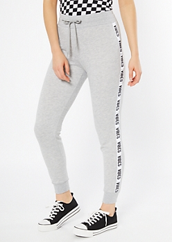 Gray Vibes Side Striped Joggers
