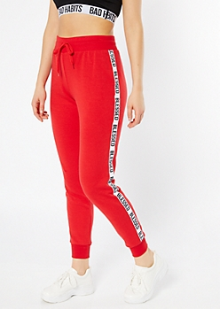 Red Blessed Side Striped Joggers