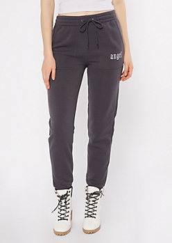 Charcoal Angel Embroidered Skinny Joggers