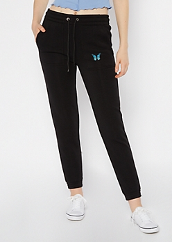 Black Butterfly Embroidered Skinny Joggers
