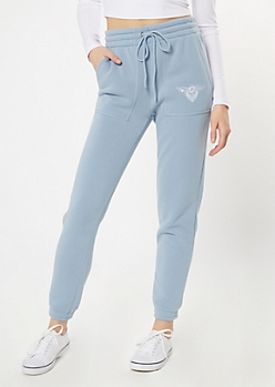 Light Blue Cherub Embroidered Skinny Joggers