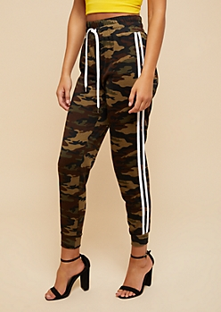 Camo Print Striped Extra High Waisted Joggers