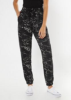 Charcoal Gray Paint Splatter Cozy Boyfriend Joggers