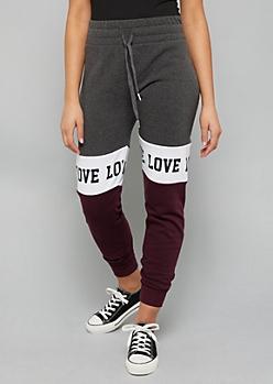 Black Colorblock Pattern Love Fleece Joggers