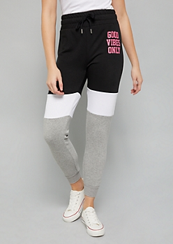 Black Colorblock Pattern Good Vibes Only Fleece Joggers