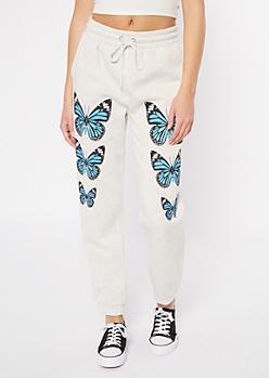 Gray Butterfly Print Boyfriend Joggers