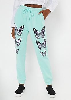 Mint Butterfly Print Boyfriend Joggers