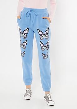 Blue Butterfly Print Boyfriend Joggers