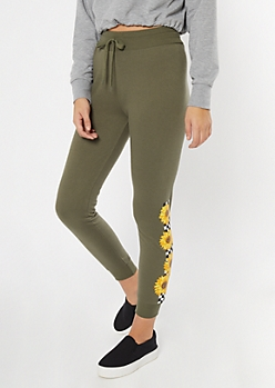 Olive Floral Checkered Print Boyfriend Joggers