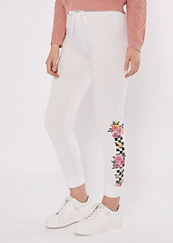 Ivory Checkered Floral Print Graphic Joggers